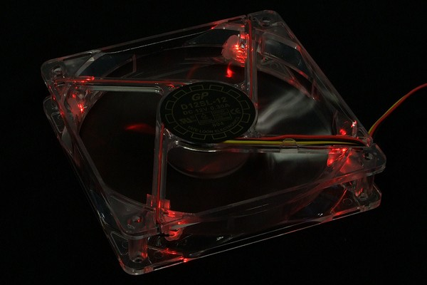 Yate Loon D12SL-12+4LED transparent with red LEDs & plug (1350rpm) ( 120x120x25mm )
