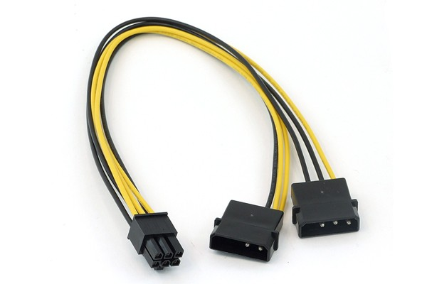 PCI-E power adaptor, 2x4 Pin Molex -> 6pol for PCIe (PCI-Express)