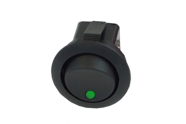 Phobya round toggle switch - LED green - unipolar ON/OFF black (3-Pin)