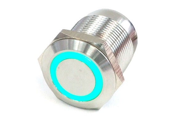Phobya push-button vandalism-proof / bell push 19mm stainless steel, green lighting, with screw-on contact 6pin