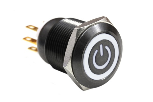 ModMyToys Illuminated Switch - 19mm Momentary Black Chrome - Power Symbol Black/White