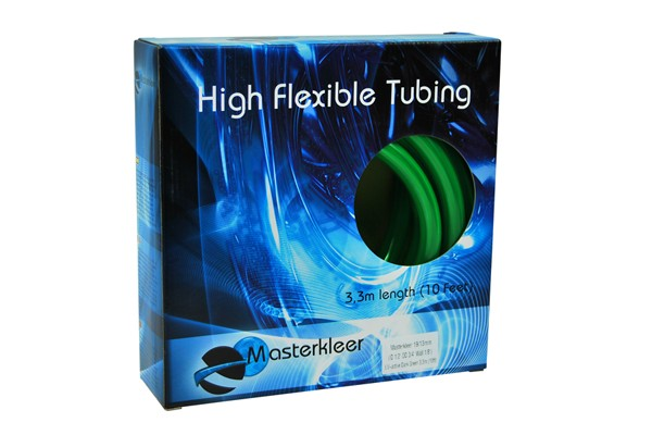 "Masterkleer tubing PVC 19/13mm (1/2""ID) UV-reactive dark green 3,3m (10ft) ""Retail Package"""