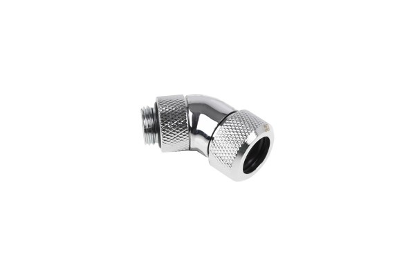 Alphacool Eiszapfen 13mm HardTube compression fitting 45° rotatable G1/4 for plexi- brass tubes (rigid or hard tubes) - knurled - chrome