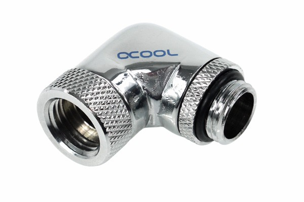 Alphacool HF angled adaptor 90° revolvable G1/4 outer thread to G1/4 inner thread - chrome