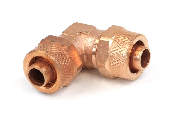 11/8mm (8x1,5mm) L tubing connector - copper plated