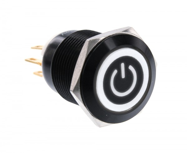 ModMyToys Illuminated Switch - 19mm Momentary Black Matte - Power Symbol Black/White