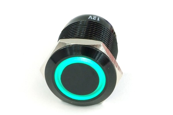 Phobya push-button vandalism-proof / bell push 19mm alu black, green ring lighting 6pin