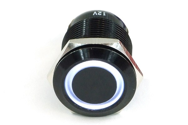 Phobya push-button vandalism-proof / bell push 19mm Alu black, white lighting, with screw contacts