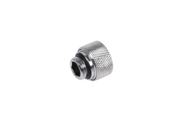Alphacool Eiszapfen 12mm HardTube compression fitting G1/4 for carbon tubes (rigid or hard tubes) - knurled - chrome
