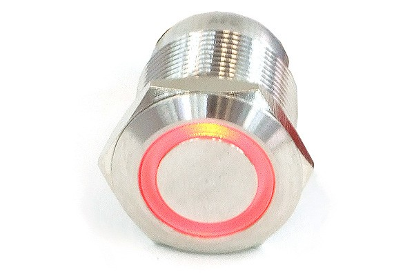 Phobya push-button vandalism-proof / bell push 19mm stainless steel, red lighting, with screw-on contacts 6pin