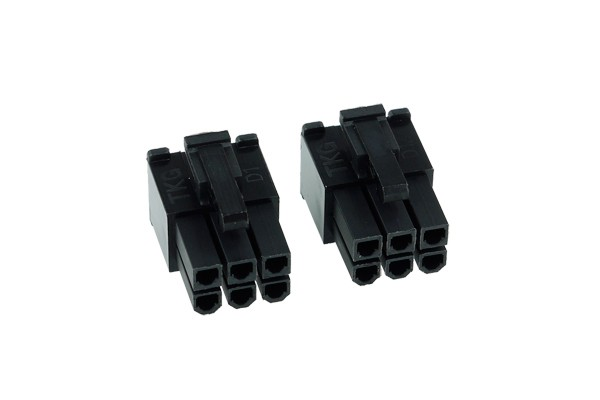 Phobya VGA Power Connector 6Pin male (square) incl. 6 Pins - 2 pcs black