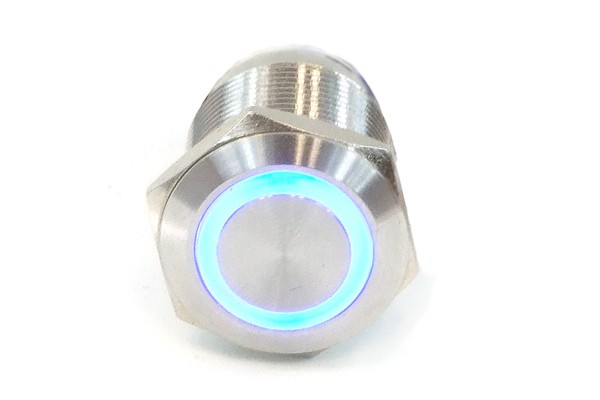Phobya push-button vandalism-proof / bell push 25mm stainless steel, blue ring lighting 6pin