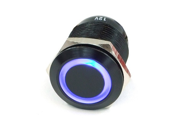 Phobya push-button vandalism-proof / bell push 19mm aluminium black, blue lighting, with screw-on contacts