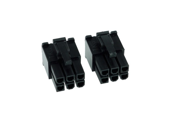 Phobya VGA Power Connector 6Pin male (tapered) incl. 6 Pins - 2 pcs black
