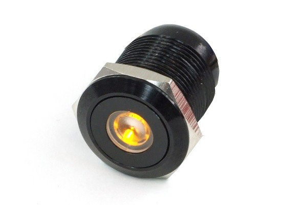 Phobya push-button vandalism-proof / bell push 19mm alu black. yellow dot lighting 6pin