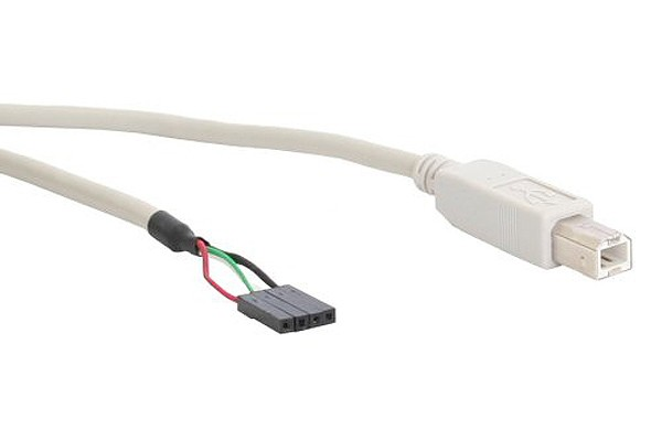 InLine® USB 2.0 connection cable plug B to pole connector 40cm