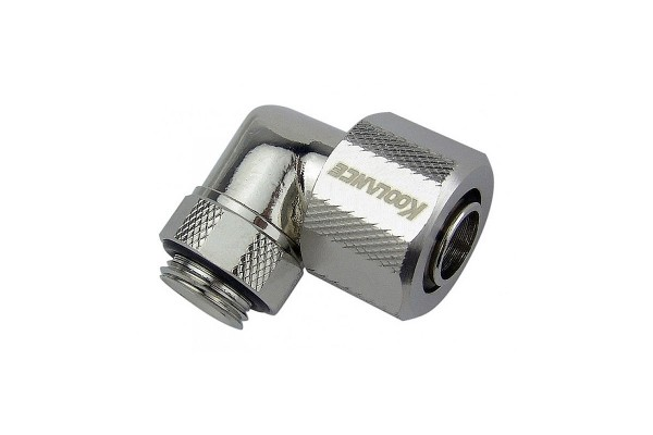 "Koolance 13/10mm (ID 3/8"" OD1/2"") compression fitting 90° rotatable G1/4"