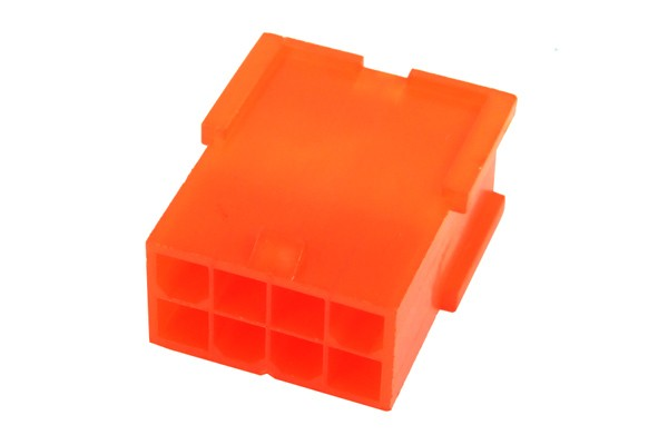 mod/smart ATX Power Connector 8Pin socket - UV-reactive brite orange