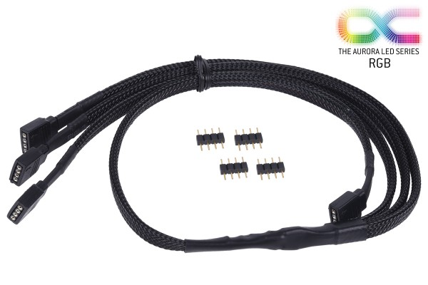 Alphacool y-cable RGB 4pol to 3x 4pol 60cm incl. connector - black