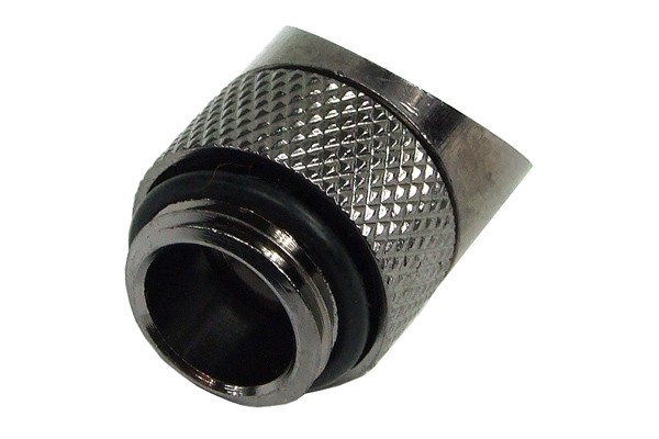 angled 45° adaptor revolvable G1/4' to G1/4' inner thread - knurling black nickel