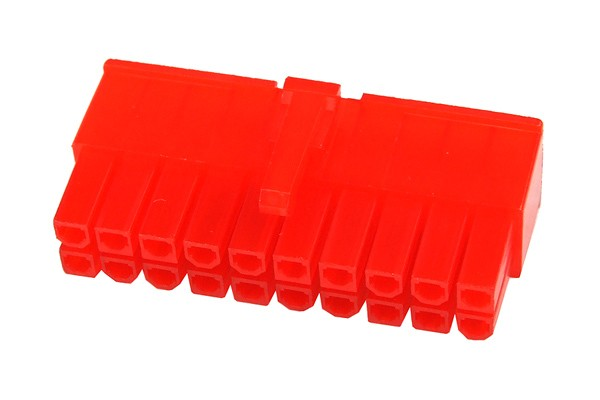 mod/smart ATX Power Connector 20Pin plug - UV-reactive red