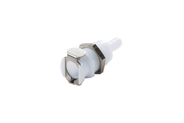 CPC quick connector series PLC - 6,4mm coupling with bulkhead ahead