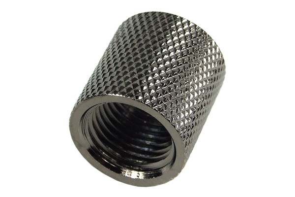 socket G1/4 to G1/4 knurled - 18mm - black nickel plated
