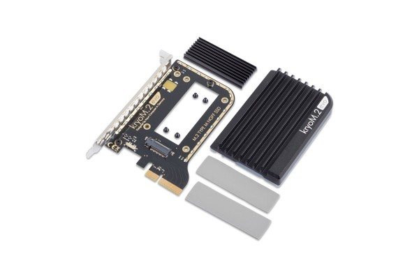 Aquacomputer kryoM.2 evo PCIe 3.0 x4 adapter for M.2 NGFF PCIe SSD, M-Key with passive heatsink