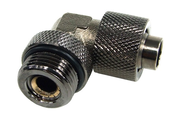 13/10mm (10x1,5mm) compression fitting 90° revolvable G3/8'' - knurled - black nickel